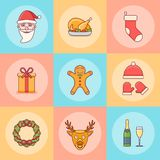 Set of Christmas elements. Flat line icons. royalty free stock photography