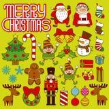 Set Of Christmas Elements Isolated On White Background Stock Photo