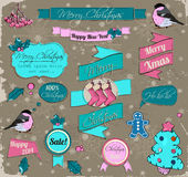 Set of Christmas elements in pink and blue. Stock Photo