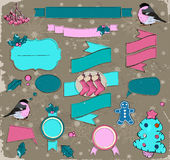 Set of Christmas elements in pink and blue. Royalty Free Stock Image