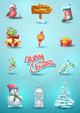 Set of Christmas elements. With the toy, rowan snowman, Christmas tree, pointer, candy, a flashlight, a garland Royalty Free Stock Photo