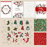 Set with Christmas elements. Set with traditional Christmas elements Stock Photos