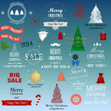 Set of  Christmas elements. Elements for Xmas design: Christmas tree, santa, balls, fir branches, snowflakes, stars, bow, calligraphic and typographic elements Royalty Free Stock Photo