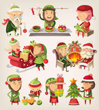 Set of christmas elves Stock Photo