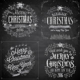 Set of Christmas emblems - Chalkboard. Royalty Free Stock Photography