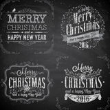 Set of Christmas emblems - Chalkboard. Vector illustration Stock Images