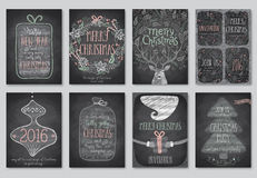 Set of Christmas emblems - Chalkboard. Stock Photography
