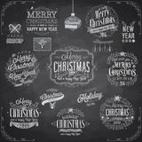 Set of Christmas emblems - Chalkboard. Vector illustration Royalty Free Stock Photography
