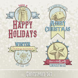 Set of Christmas emblems and designs Stock Photos