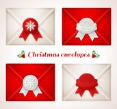 Set of Christmas envelope icons with red and white wax seals. Royalty Free Stock Photo