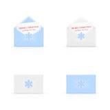 Set of Christmas envelopes with snowflake Royalty Free Stock Photos