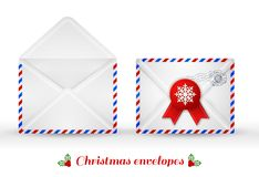 Set of Christmas envelopes. Vector illustration. Stock Image