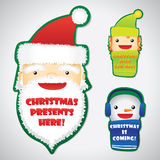Set of Christmas faces on badges Royalty Free Stock Photography
