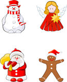 Set of Christmas figures. Angel, Snowman, Gingerbread Man, Santa Claus Stock Photography