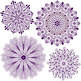 Set christmas filigree snowflakes. Collection new christmas dark violet snowflakes isolated on white (vector vector illustration