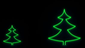 Set of Christmas firs and New Year 2015 sign as neon lamp stock video