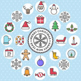 Set of christmas flat design icons object set vector illustration Royalty Free Stock Images