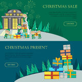 Set of Christmas Flat Design Vector Web Banners. Set of Christmas web banners. Flat design. Merry Christmas, Christmas sale, Christmas present concepts with Stock Photography