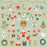Set of Christmas flat graphic elements. Set of Christmas and new year flat elements. Vector illustration royalty free illustration