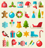Set of Christmas Flat Icons  on Beige Stock Images