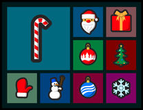 Set of Christmas flat icons. With black outline Vector Illustration