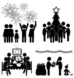 Set of Christmas flat icons isolated on white. Background Royalty Free Stock Image