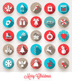 Set of Christmas flat icons Stock Photos