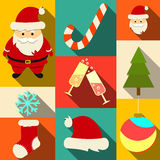 Set of Christmas flat icons. With long shadows. Vector. Eps10 stock illustration