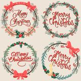 Set of Christmas floral elements royalty free illustration