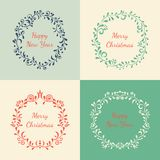 Set of Christmas floral frames Royalty Free Stock Images