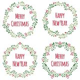 Set of Christmas floral frames Stock Photography