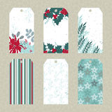 Set of Christmas floral tags Royalty Free Stock Image