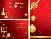 Set of christmas frames with decorations - eps. Set of red vector christmas frames with gold decorations Royalty Free Stock Images