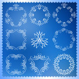 Set of Christmas frames. Monogram design elements, graceful template. Elegant line art logo design.  Stock Photography