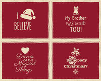 Set of Christmas funny signs, quotes backgrounds. Designs for kids - i believe in santa claus. Nice retro palette. Red and white colors. Can be use as flyer Stock Photography