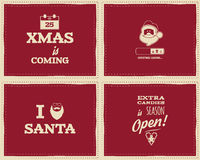 Set of Christmas funny signs, quotes backgrounds. Designs for kids - loading bar, love santa, xmas is coming. Nice retro palette. Red color. Can be use for Royalty Free Stock Images