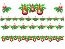 Set of Christmas garlands of fir with candles, snowflakes and Christmas balls. Christmas evergreens decorated with ribbons, bows, candles ... Bright wreaths vector illustration