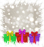 Set Christmas gift boxes on glowing background Royalty Free Stock Photography