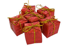 Set of christmas gift boxes isolated on white. With clipping path Stock Photos