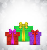 Set Christmas gift boxes on light background Royalty Free Stock Photo