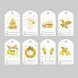 Set of Christmas gift tags with bright Golden stock illustration