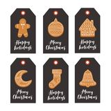 Set of Christmas gift tags with Christmas gingerbread and festive wishes on black background. Vector illustration Stock Photography