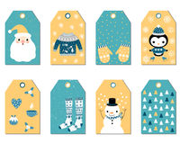 Set of Christmas gift tags royalty free illustration