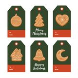 Set of Christmas gift tags with Christmas gingerbread and festive wishes on green background. Vector illustration Stock Photography