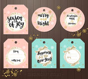 Set of Christmas gift tags with winter illustrations and wishes. Royalty Free Stock Photography