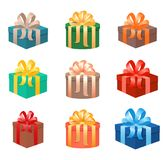 Set of christmas gifts boxes in holiday packages with bowknots. Christmas holiday presents realistic design. Vector illustration Royalty Free Stock Images