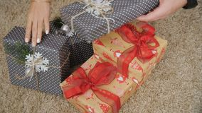 A set of Christmas gifts stock footage