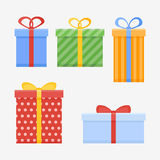 Set of Christmas gifts or present boxes with ribbon. Set of Christmas gifts or present boxes with ribbon isolated on white background. Flat style icons. Vector Royalty Free Stock Photo