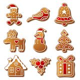 Set of Christmas ginger breads illustration for Royalty Free Stock Images