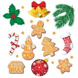 Set of Christmas gingerbread cookies, decorations. Big set of glazed Christmas gingerbread cookies and decorations, fir tree, mistletoe, candy cane, cartoon Royalty Free Stock Image